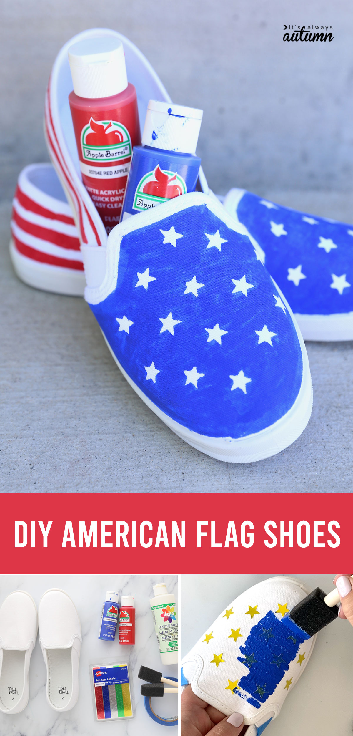 DIY American flag shoes; supplies; painting a shoe