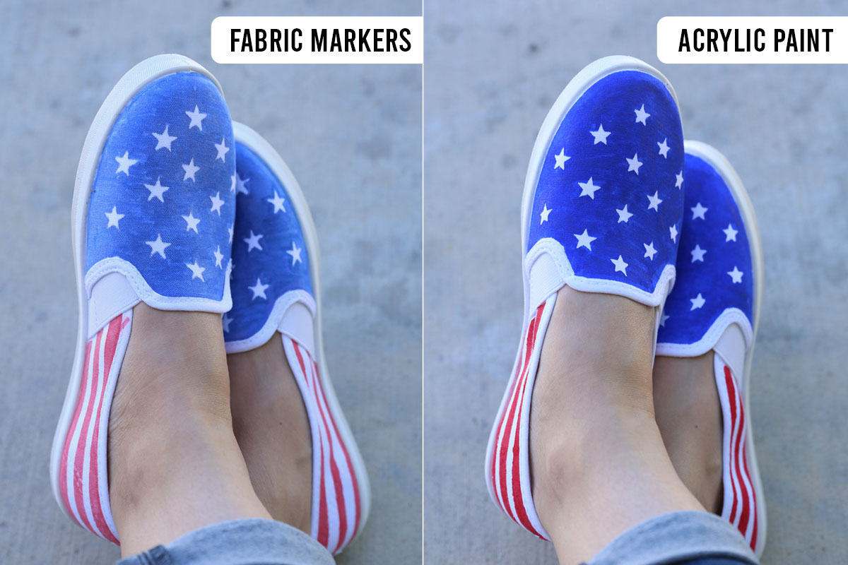 Comparison of flag shoes made with fabric markers and acrylic paint