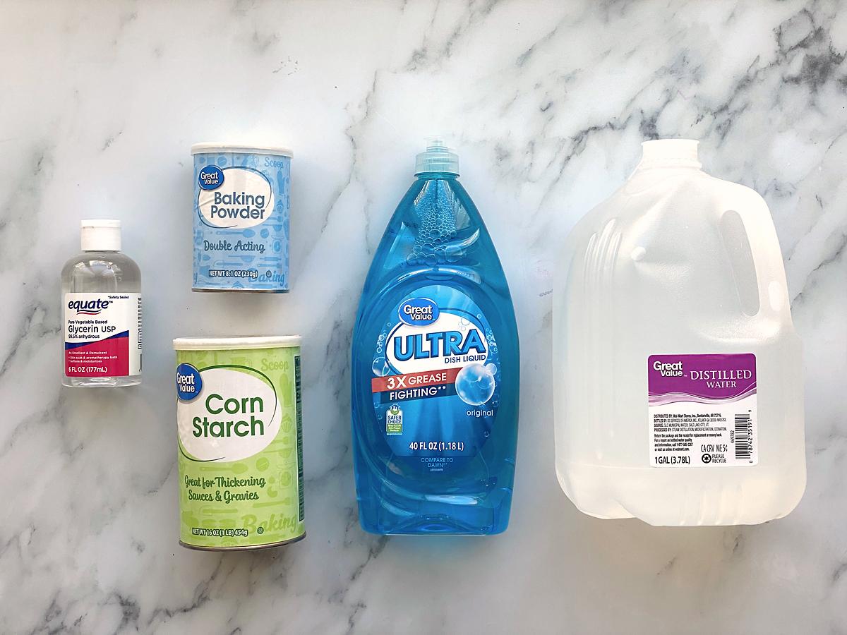 Bubble solution supplies: glycerin, baking soda, corn starch, dish soap, distilled water