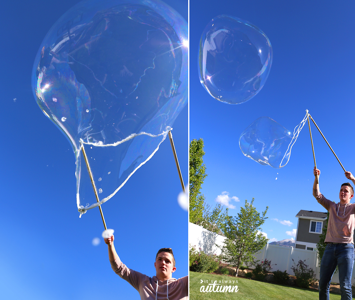 Boy blowing giant bubbles