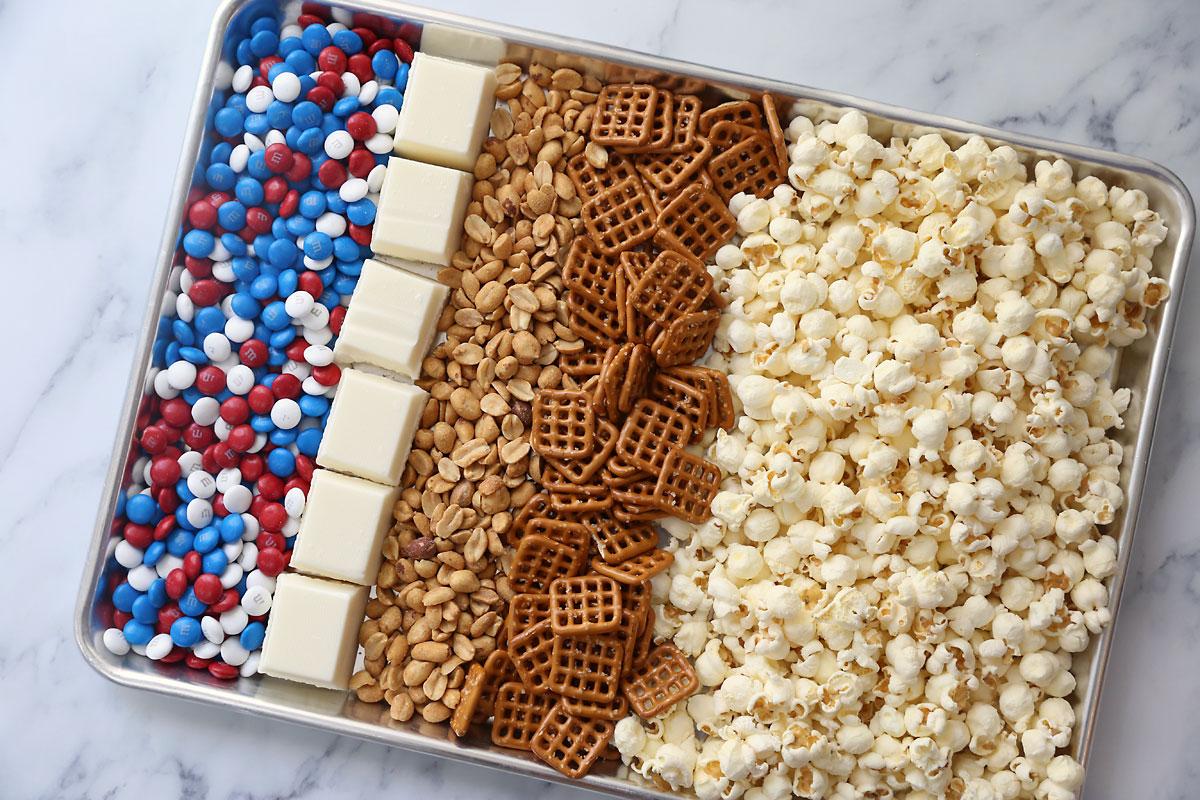 Ingredients: popcorn, pretzels, peanuts, white chocolate, patriotic M&Ms