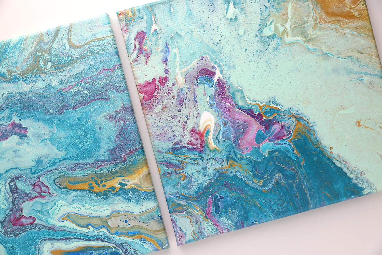 Dos lienzos de pintura acrílica