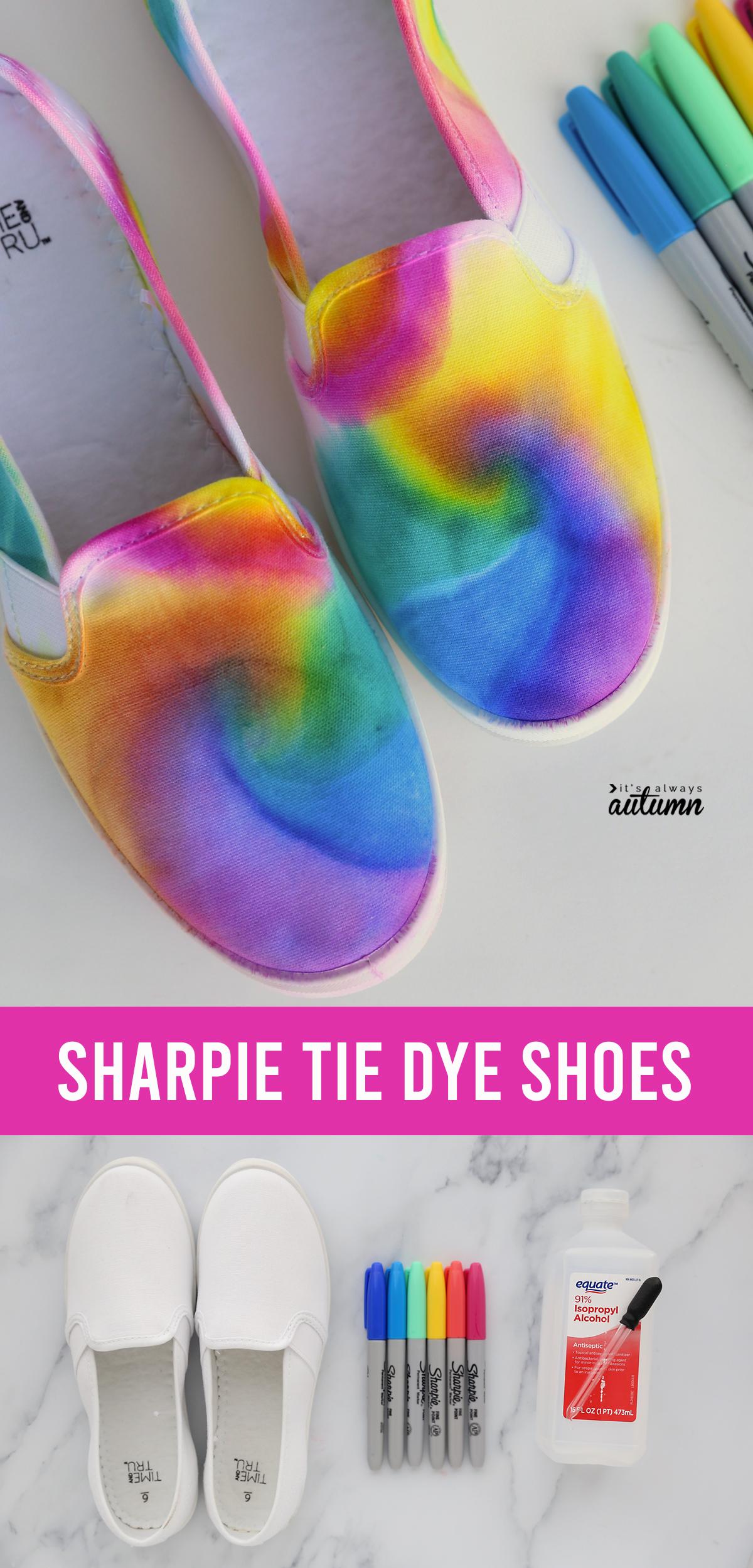 Zapatos de teñido anudado Sharpie;  suministros: zapatos, aguardientes, alcohol, gotero