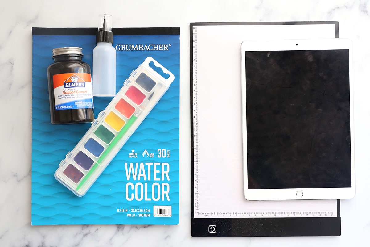 Supplies: watercolor paper, watercolor paints, rubber cement, small squeeze bottle, lighttable or iPad