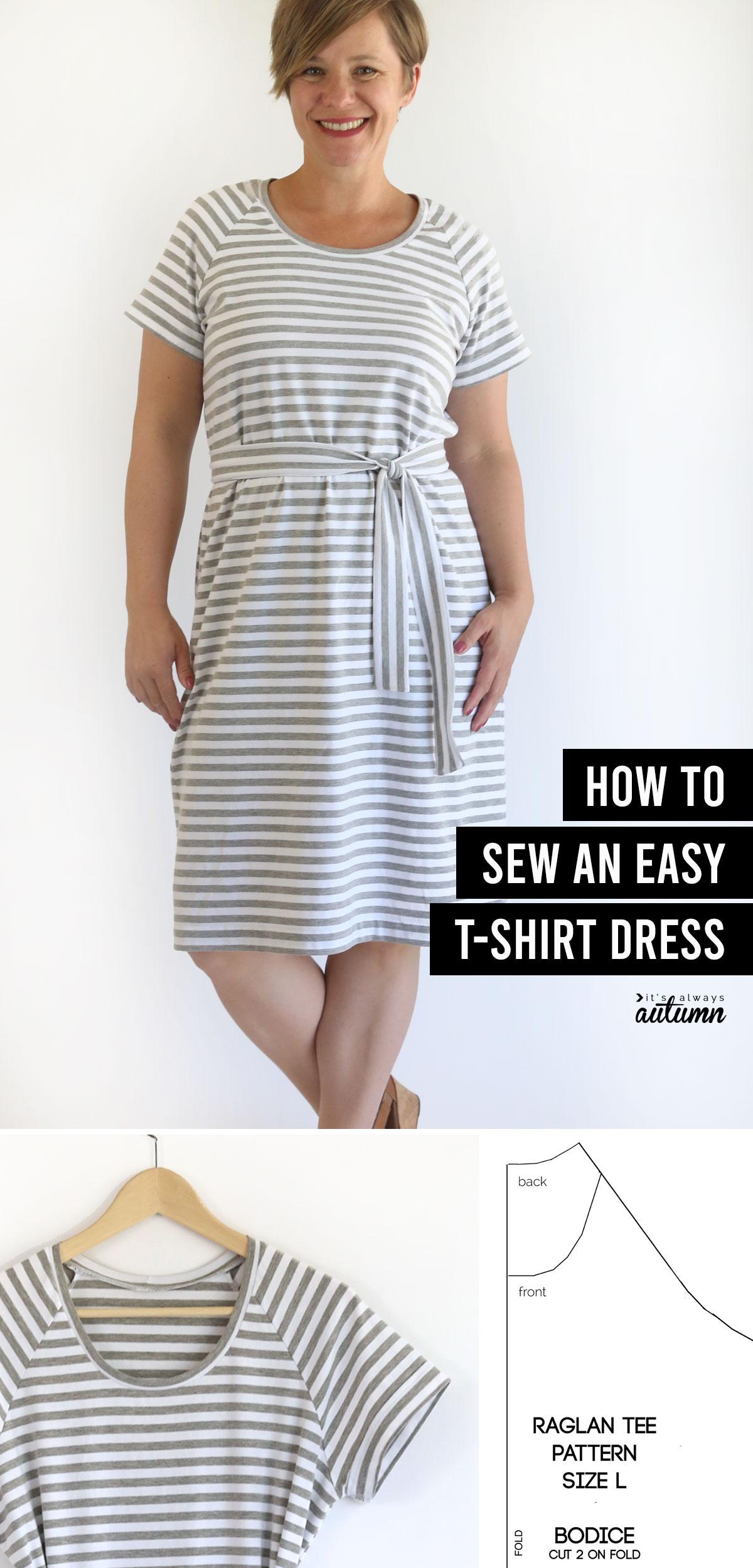 Woman wearing t-shirt dress; closeup of dress on hanger; t-shirt pattern; text: how to sew an easy t-shirt dress