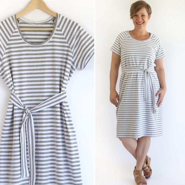 Striped t-shirt dress on a hanger, woman wearing t-shirt dress