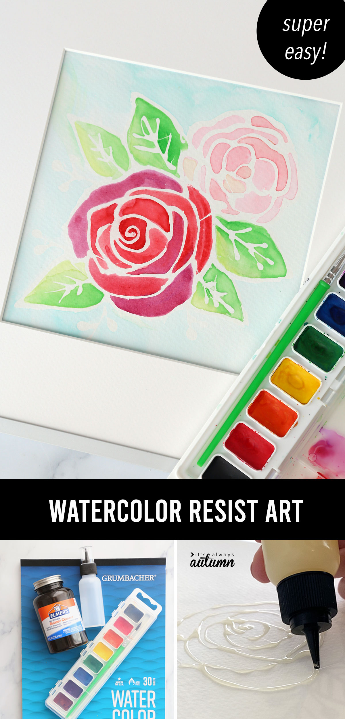 Floral watercolor painting with text: watercolor resist art, super easy!