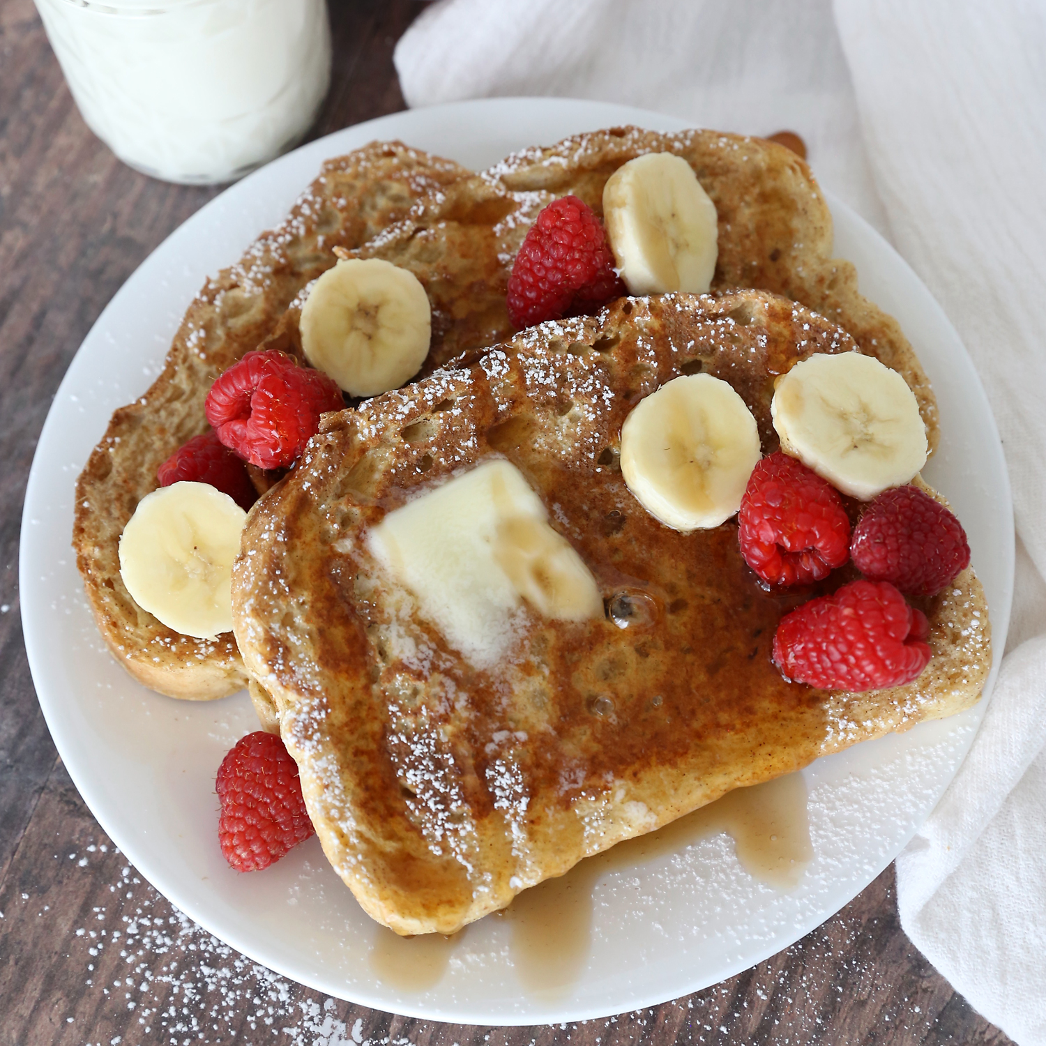 French toast with bananas and raspberries