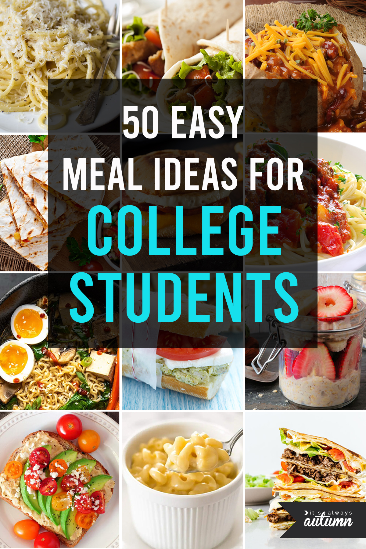 collage of food photos; text: 50 easy meal ideas for college students