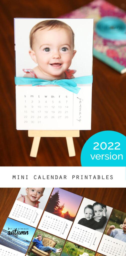 2022 DIY mini photo calendar on a small easel