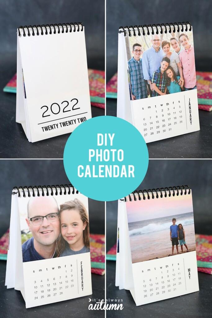 Mini photo calendar coil bound at the top