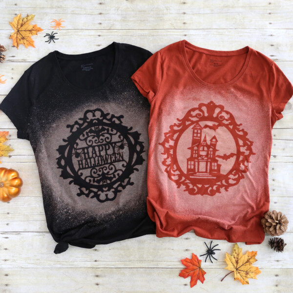 Black and Orange t-shirts with Halloween designs made with bleach