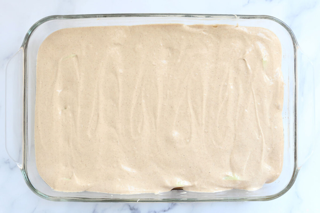Spice cake batter in a 9x13 pan