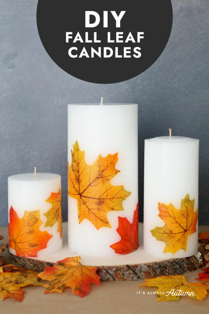 DIY fall leaf candles