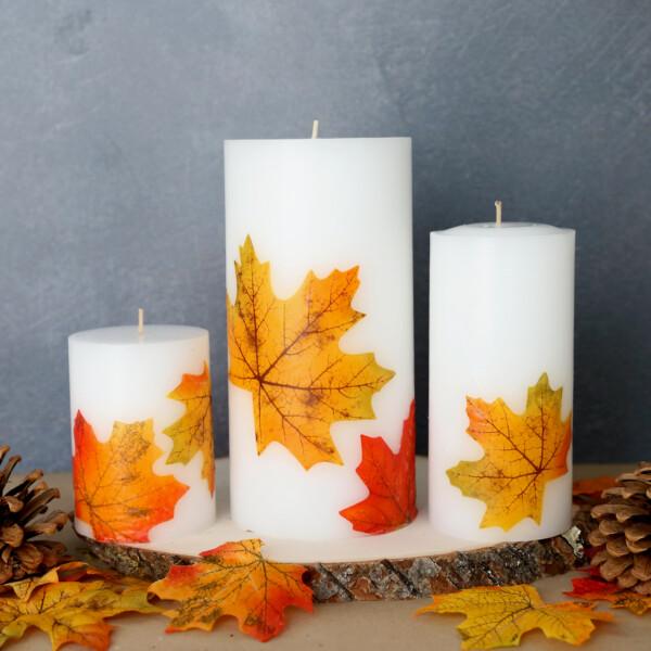 Fall leaf candles; faux fall leaves