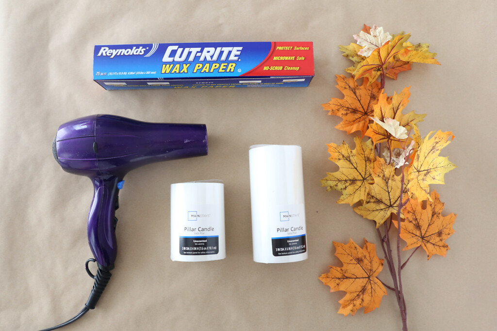 supplies: hair dryer, wax paper, candles, faux leaves