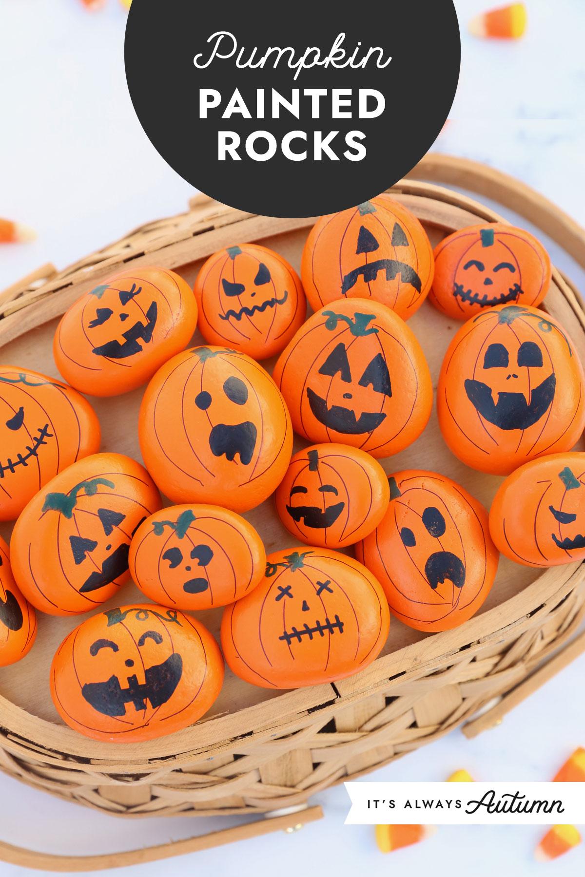 Pumpkin painted rocks
