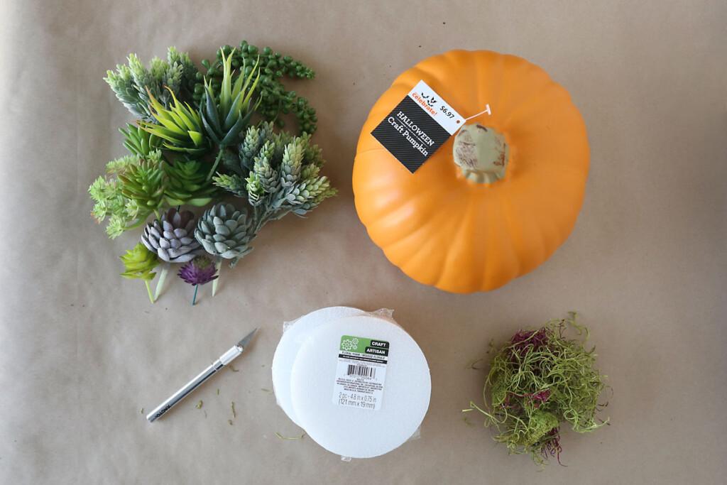 Supplies: faux succulents, faux pumpkin, exacto knife, floral foam discs, faux moss