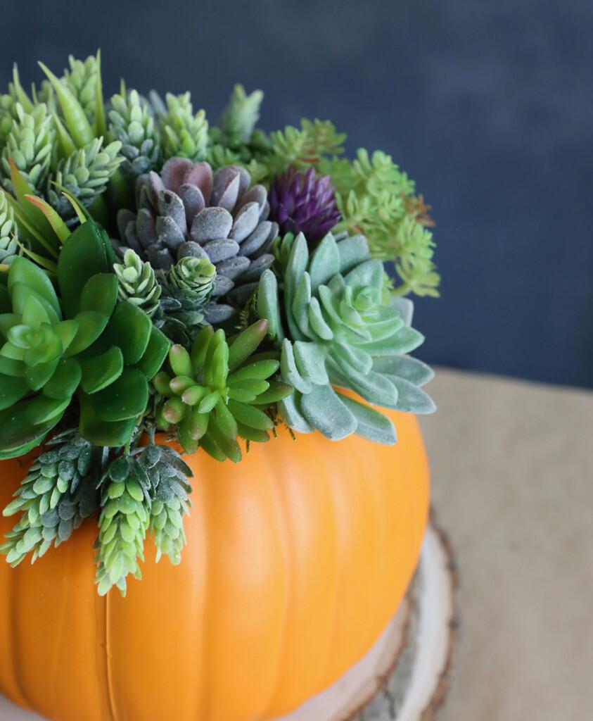 Faux pumpkin succulent planter