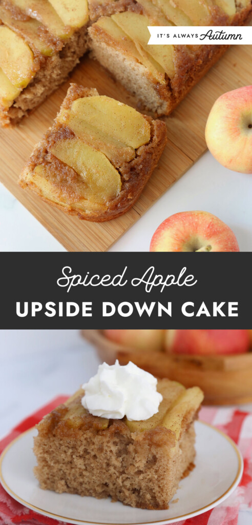 Sliced of apple upside down cake on a cutting board; piece of apple upside down cake on a plate with whipped cream