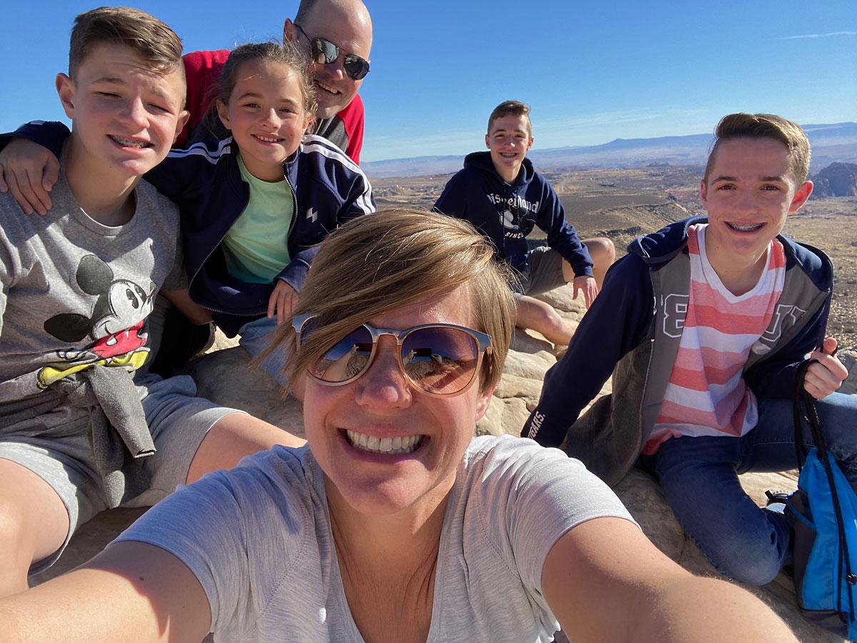 Family on a mountain peak