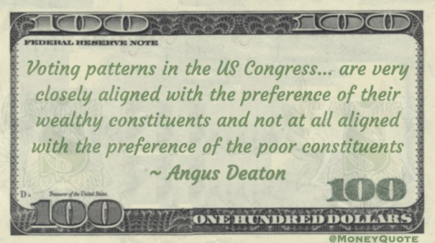 Voting patterns in the US Congress... are very closely aligned with the preference of their wealthy constituents and not at all aligned with the preference of the poor constituents Quote