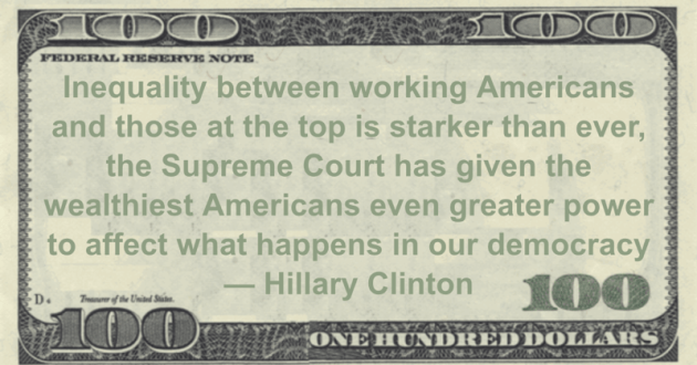 Inequality between working Americans and those at the top is starker than ever, the Supreme Court has given the wealthiest Americans even greater power to affect what happens in our democracy Quote