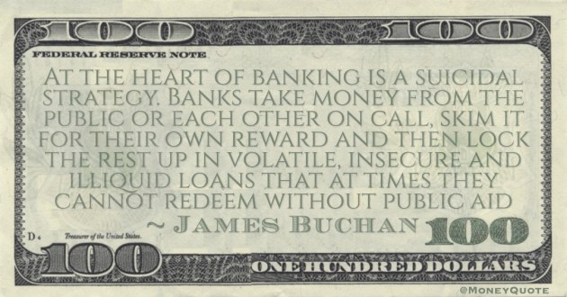 At the heart of banking is a suicidal strategy. Banks take money from the public or each other on call, skim it for their own reward and then lock the rest up in volatile, insecure and illiquid loans Quote