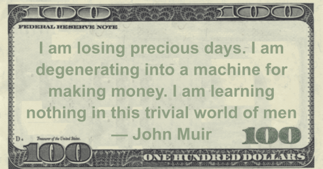 I am losing precious days. I am degenerating into a machine for making money. I am learning nothing in this trivial world of men Quote