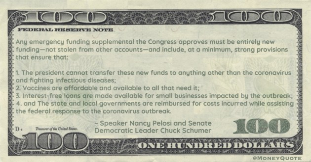 Any emergency funding supplemental the Congress approves must be entirely new funding — not stolen from other accounts Quote