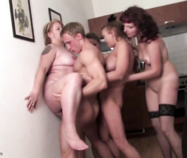 Four German Swinger Moms Fuck Boy