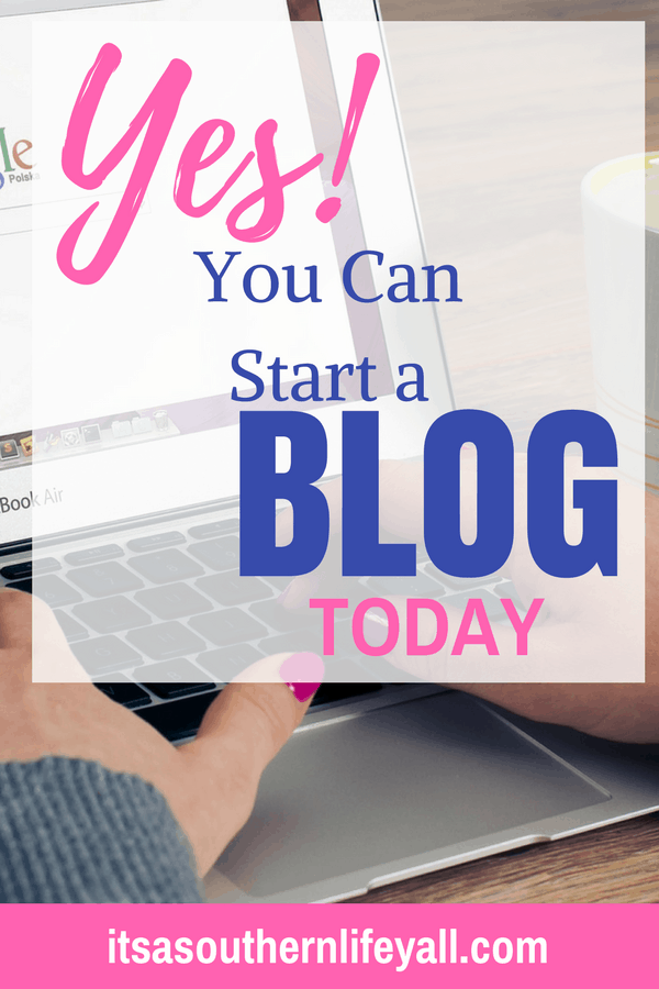 Typing on a laptop with Yes! You can start a blog today text overlay - Stop Using Alt Tags for Pinterest Pin Descriptions
