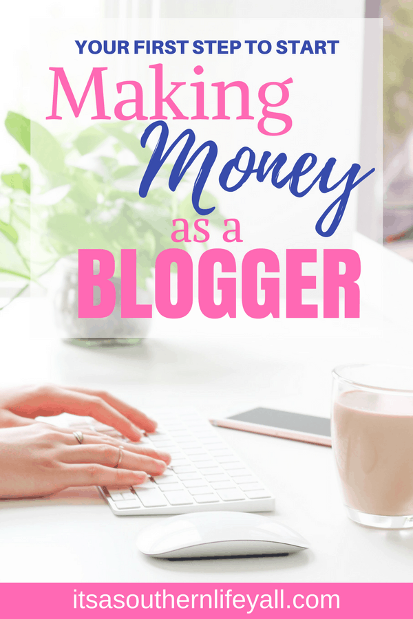 Hands typing on a keyboard with your first step to making money as a blogger text overlay - Stop Using Alt Tags for Pinterest Pin Descriptions