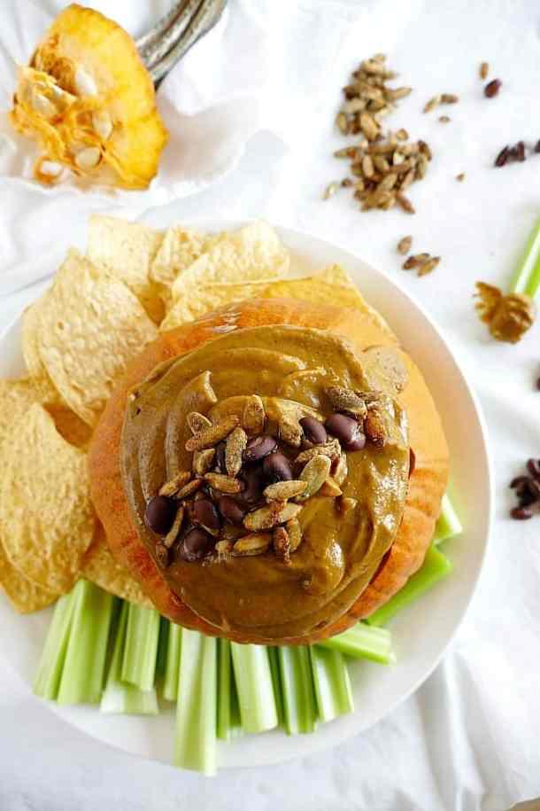 Vegan and gluten-free pumpkin black bean dip