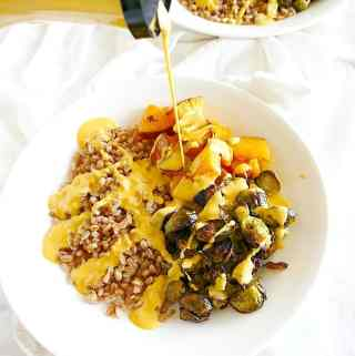 Vegetarian roasted vegetable farro bowls with a creamy Greek yogurt dressing