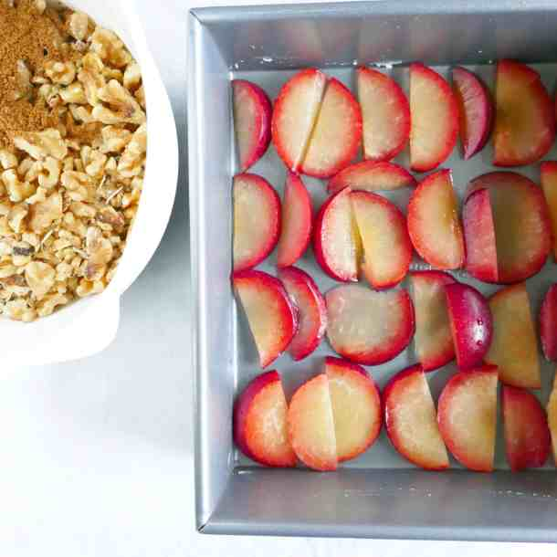 Plum walnut baked oatmeal, a vegetarian and gluten-free breakfast option perfect for holiday meals.