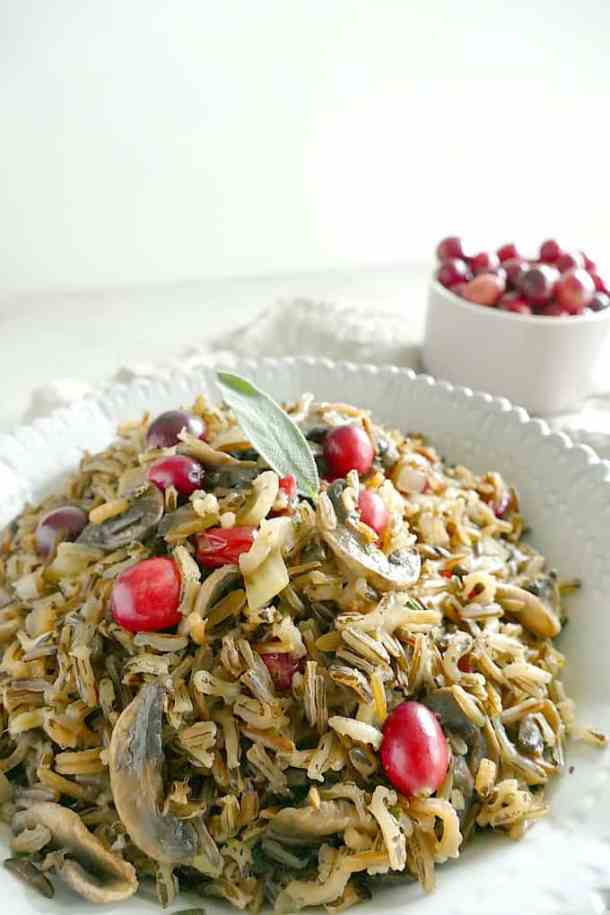 Vegan gluten-free wild rice and mushroom pilaf with cranberries