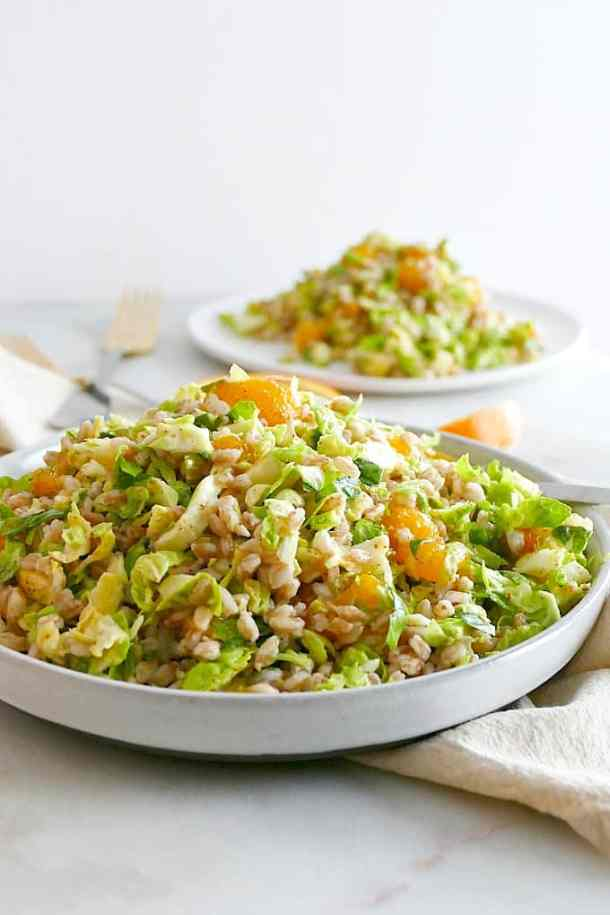 Winter Salad with Shaved Brussels and Farro