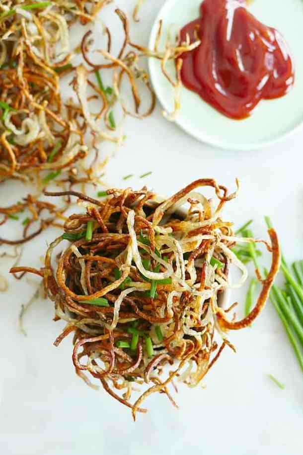 Baked Shoestring Fries with Fresh Chives