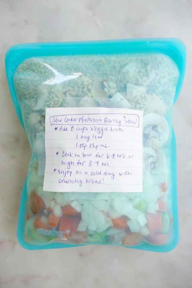 ingredients in a stasher bag with a label and notes about cooking time