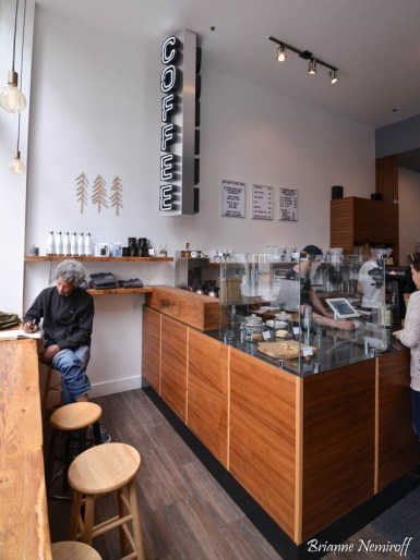 The inside of Three Pines Coffee in Downtown Salt Lake City