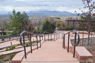 A staircase at Red Butte Garden in Salt Lake City with a view of the mountains