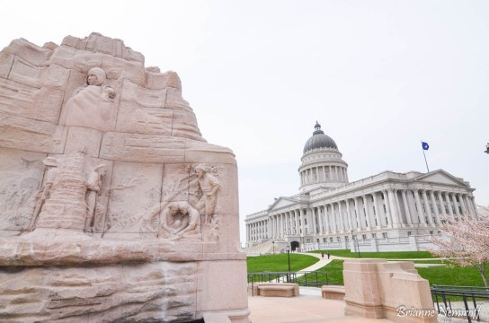Mormon Battalion Monument and the Utah State Capitol Building