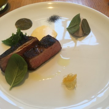 Robata grilled New England lamb, walnut cream, corn meal, candied mustard fruits, pickled caper leaves