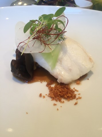 Murray cod cooked in butter, clams, chinkiang black vinegar, celtuce, chilli threads, garlic