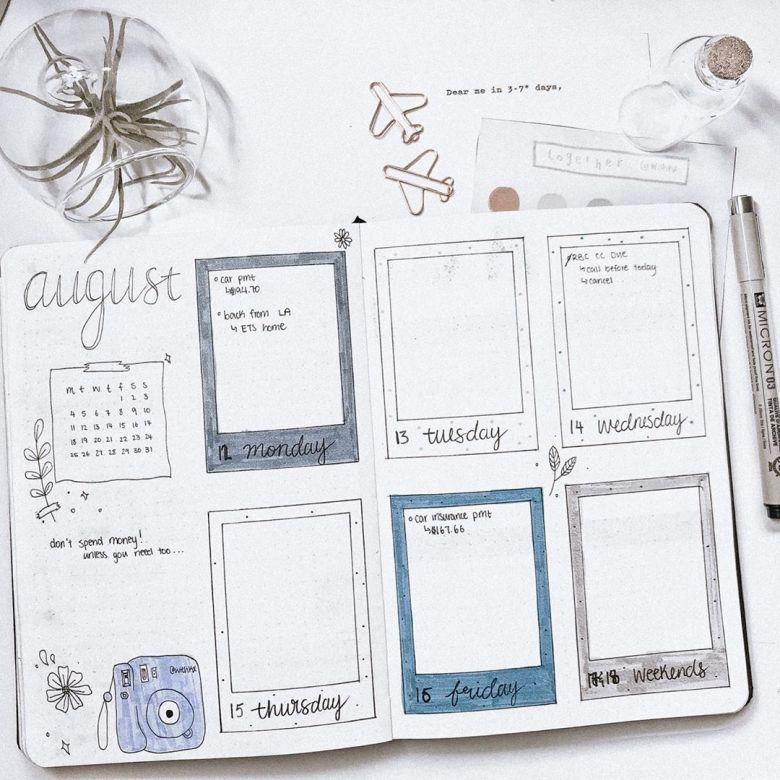 vintage polaroids bullet journal spread