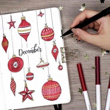 21 Christmas Bullet Journal Ideas For December. Ornaments December BuJo Cover.