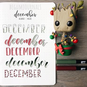 December Bullet Journal Header Ideas