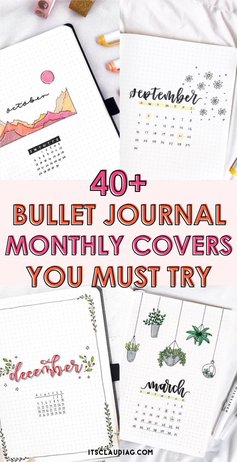 20 Bullet Journal Monthly Cover Ideas You Must Try   Its Claudia G