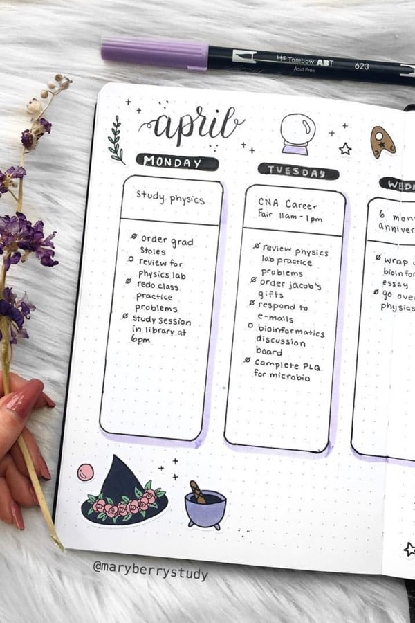 magical bullet journal spread